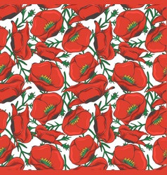 red poppy seamless pattern design - floral fashion vector image