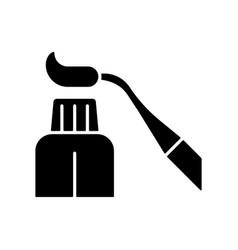 Resin dental material black glyph icon vector