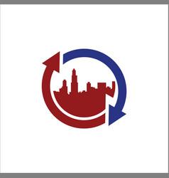 round arrow town cityscape logo vector image