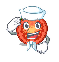 Sailor character tomato slices for food decor vector