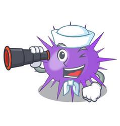 Sailor with binocular underwater scenery on mascot vector