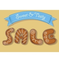 Sale inscription by gingerbread cookies font vector