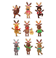 Santa s reindeer set of vector