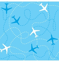 Seamless background airplanes flying with dashed vector image