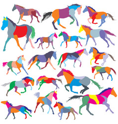 Set colorful trotting and galloping horses vector
