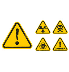 set grunge danger signs isolated on white vector image