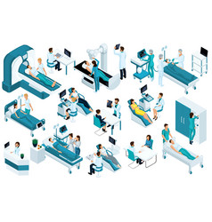 set isometric medical workers and patients vector image