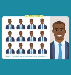 set male facial emotionsblack business man vector image