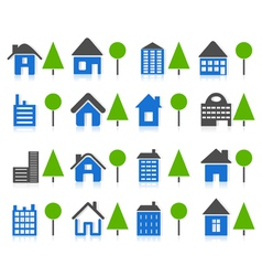set of icons of houses and tree a vector image