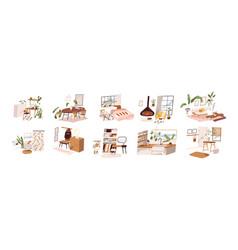 Set stylish mid century scandinavian apartment vector