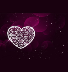 shiny sparkles heart purple valentines day vector image