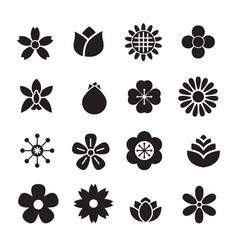 Silhouette flower icons vector