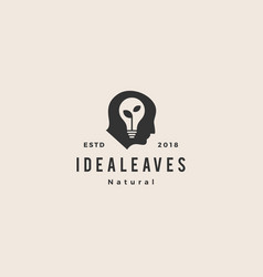smart human head think bulb leaf idea logo vector image