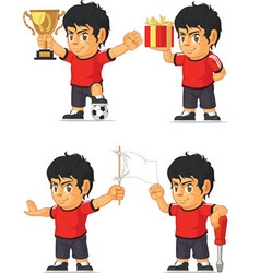 Soccer boy customizable mascot 3 vector
