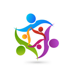 Teamwork swoosh family people group icon vector