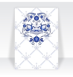 Template greeting card with blue pattern in gzhel vector