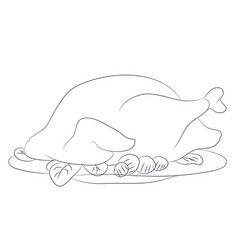 thanksgiving turkey line drawing vector image