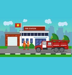 The composition of the fire truck and fire station vector