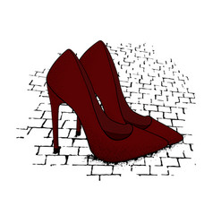 the image of the modern stylish shoes of red vector image