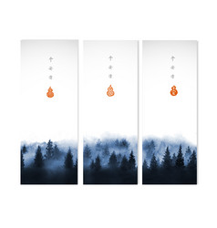 three banners with blue misty winter forest trees vector image