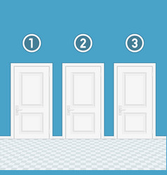 three doors with numbers vector image