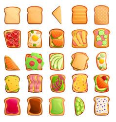 Toast icons set cartoon style vector