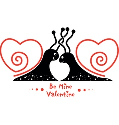 Valentines Day picture with couple of snails in vector