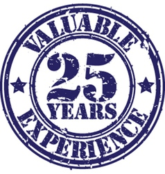 Valuable 25 years experience rubber stamp vect vector