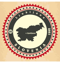 Vintage label-sticker cards of Slovenia vector image