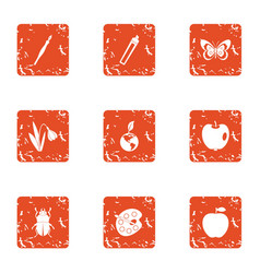 Weather climate icons set grunge style vector