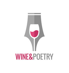 wine glass pen concept wine and poetry logo vector image