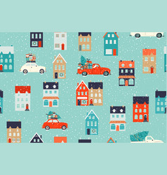 Winter houses for christmas and red retro car vector