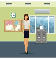 Woman workspace office cabinet file notice board vector
