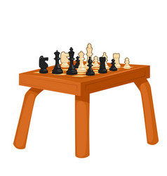 wooden chess table isolated on white background vector image