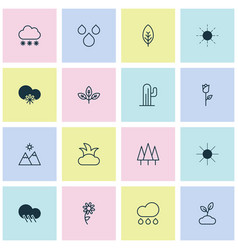 World icons set collection of rain cactus tree vector