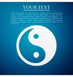 Yin yang symbol flat icon on blue background vector