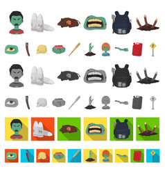 zombies and attributes cartoon icons in set vector image