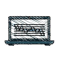 color crayon stripe cartoon laptop computer with vector image vector image
