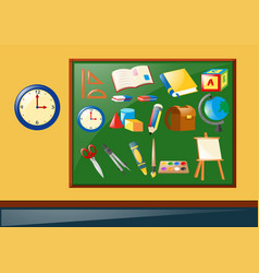 different school objects on the board vector image