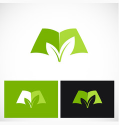 open book green ecology logo vector image
