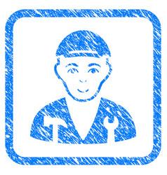 Serviceman framed stamp vector