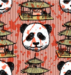 Sketch Chinese temple and panda vintage seamless vector image