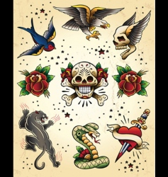 tattoo flash vector elements vector image vector image
