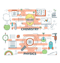 thin line flat design chemistry and physics vector image