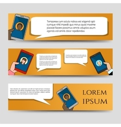 Chating icons horizontal banners template vector image