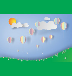 colorful balloons in flowers garden paper art vector image vector image
