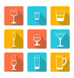 flat alcohol glasses icons vector image vector image
