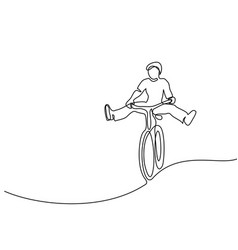 Man on a bicycle have fun vector