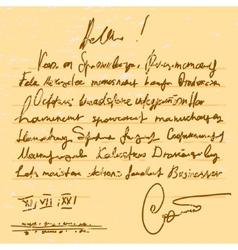Old handwriting vector