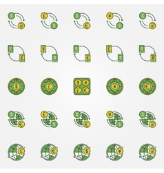 Colorful currency exchange icons vector image